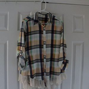 Plaid button up with lace detail